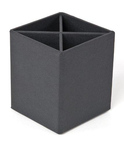 Bigso Penny Fiberboard 4-Divider Desktop Pencil Cup, 3.9 x 3.3 x 3.3 in, Dark Grey