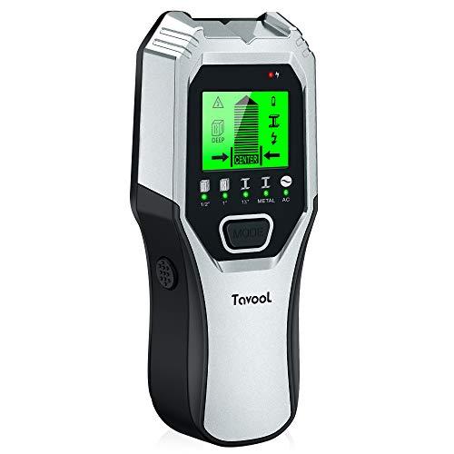 Leitungssucher Ortungsgerät Wand Scanner Detektor - Tavool 5 in 1 Multifunktional Stud finder Metalldetektor mit Großer LCD- Anzeige Leitungsfinder für Holz Stromleitung Metall (sliver)