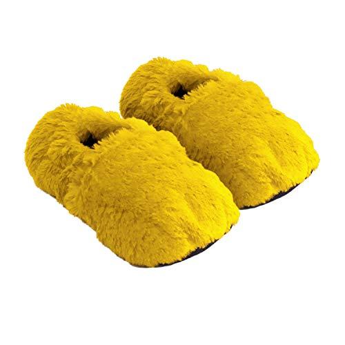 Thermo Sox aufheizbare Hausschuhe für Mikrowelle und Ofen - Mikrowellenhausschuhe Wärmepantoffeln Wärmehausschuhe Wärmeschuhe Fußwärmer Supersoft, Gelb, 36/40 EU