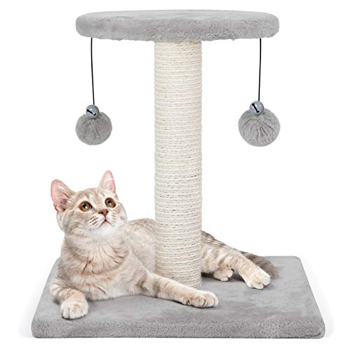 rabbitgoo Cat Scratching Post, 43cm Cat Tree Small Cat Tower with Sisal Plush Perch, Cat Scratch Post with Hanging Toys, Cat Claw Scratcher for Indoor Large Cats, Kitten Climbing Pole for Play Rest