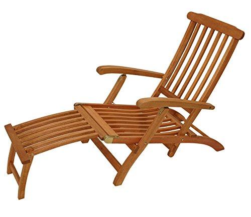 lifestyle4living Deckchair aus Eukalyptus Hartholz, braun, verstellbar, inkl. Fussteil zum Abnehmen | Wetterfeste klappbare Gartenliege