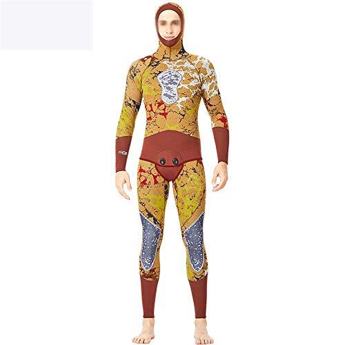 Heren Wetsuit, Professionele Jacht Vissen Pak 5MM Camouflage Split Duikpak Hooded Warm Gratis Duiken Zwempak Ideaal voor Beginners en Sportliefhebbers