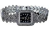 CHXISHOP Reloj de pulsera para mujer de plata de ley 925 Retro Craft Pulsera de mujer Reloj de negocios Movimiento de cuarzo negro - 19.5cm