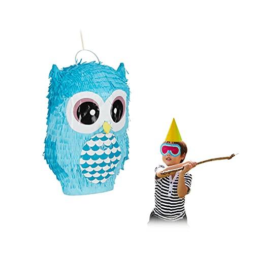 Relaxdays Pinata Eule, niedliche Tierpinata zum selbst Befüllen, Geburtstag, zum Aufhängen, Schlagpinata f. Kinder, blau