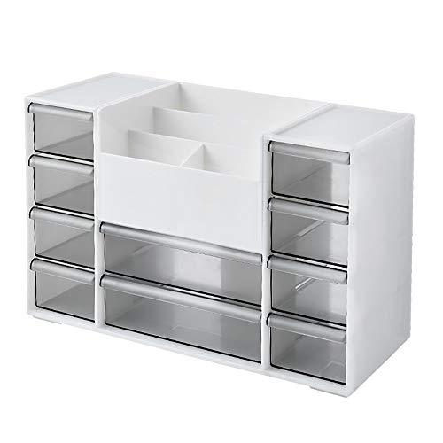 Cxraiy-HO Caja de almacenamiento de escritorio multifuncional organizador de escritorio organizador de maquillaje caja de almacenamiento colección (color: blanco, tamaño: 30,5 x 13 x 19,5 cm)