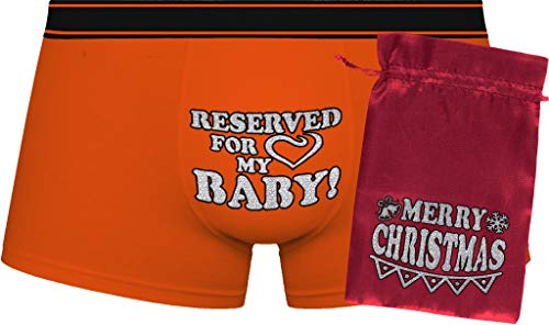 Herr Plavkin Reserved for My Baby! |Orange Boxers | red Bag 'Merry Christmas'