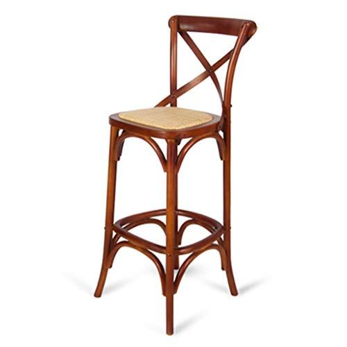 ☀ JBD Chaise De Bar en Bois Massif Style Européen Rétro Haut Tabouret De Mode Fauteuil Café Comptoir Loisir Siège Ménage (Couleur : J)