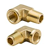Legines 90 Degree Brass Street Elbow 1/8' NPT Male x 1/8' NPT Female Forged Pipe Fitting (Pack of 2)