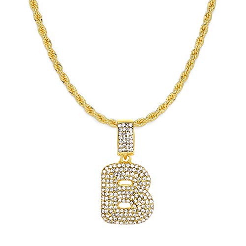 """FW Jewelry Men Women Iced Out Hip Hop Silver Gold Bling Diamond Bubble Initial Letter Pendant Chain Necklaces A to Z 20"""" (Bubble B - Gold, with Rope)"""