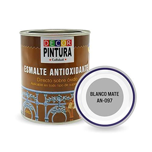 Pintura Blanco Mate Antioxidante Exterior para Metal minio Pinturas Esmalte Antioxido para galvanizado, hierro, forja, barandilla, chapa para interiores y exteriores - Lata 750ml