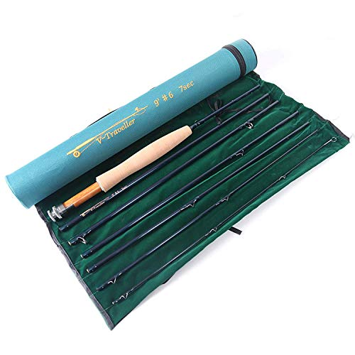 Unifishing Traveler Fly Rod 7-Piece IM10 Carbon Travel Rod Fly Fishing with Cordura Tube(Size:4/5/6/7/8/9 wt) (5weight 9ft 7pieces)