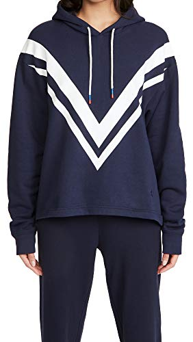 Tory Sport Women's French Terry Chevron Hoodie, Tory Navy/Snow White, Large