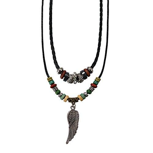 Flongo Collana in pelle, Collana intrecciata da uomo, Ciondolo ala angelo, Collo regolabile per uomo donna, Doppia collana lunga stile etnico tribale