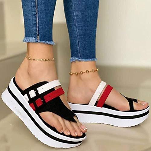 ZRSH Sandalias Mujer Cuña Alpargatas Plataforma Coincidencia de Color Plataforma Impermeable Sandalias Verano Tacon Planas Zapatos Zapatillas,Negro,39EU