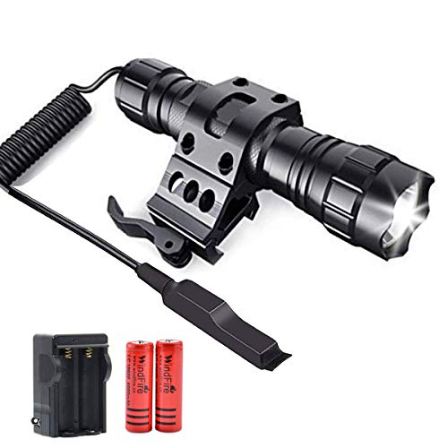 WindFire 2000 Lumens LED Weapon Light Tactical Flashlights with Quick Release Picatinny Rail Mount Offset Mount for Outdoor Hunting,Remote Pressure Switch,Batteries & Charger Included
