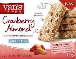 Van's Snack Bar, Cranberry Almond, Gluten-Free 1.2 oz. 5-Count (Pack of 6)