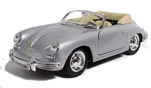 Schaepers Kaleidoskope Modellauto / Porsche 356 B / Cabriolet / Silbergrau / 1:24 /18 cm / Porsche