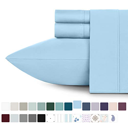 California Design Den 400 Thread Count 100% Cotton Sheet Set, Aero Blue Queen Sheets 4 Piece Set, Long-Staple Combed Pure Natural Cotton Bed Sheets for Bed, Soft & Silky Sateen Weave
