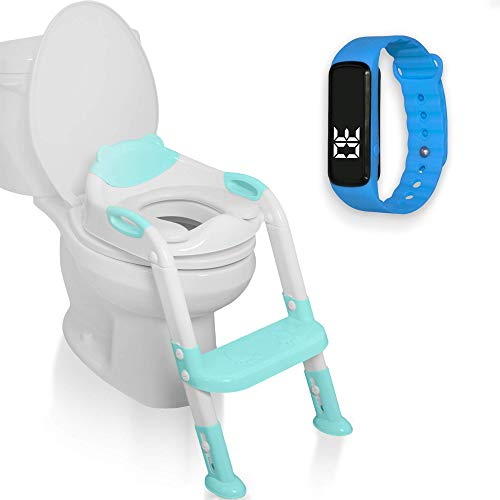 MiniWagz Potty Training Seat with Ladder Bundle with Boys Girls Kids Watch | Waterproof Wrist Watch | Comfortable Safe with Soft Pads Toilet Seat| Blue (Blue - Blue Watch)