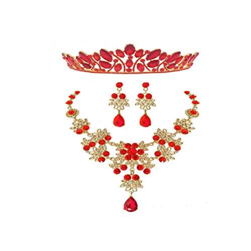 Minkissy Conjunto de Joyas de Diamantes de Imitación Pendientes de Collar de...