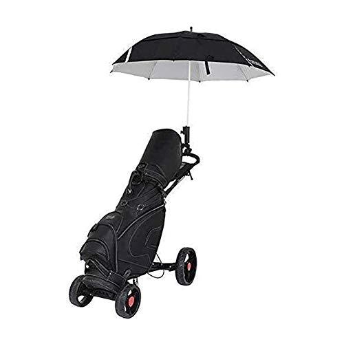 GDD Golftrolley Golfwagen 4 Räder Push-Pull-Golf Cart Leicht Push- und Pull-Handkarren mit Schirmständer und Handbremse Faltbare Trolley - One Second Schließen