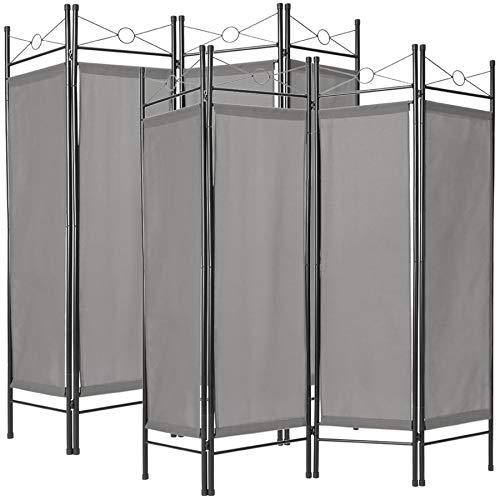 TecTake 403556 2er Set Raumteiler Trennwand Paravent spanische Wand 4-TLG, 180x160cm, grau