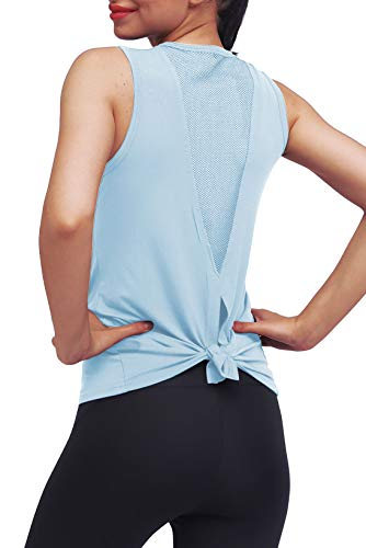 Mippo Workout Tops for Women Mesh Yoga Tops Workout Clothes Sleeveless High Neck Open Back Workout Shirts Tie Back Running Tank Tops Loose Fit Exercise Sports Gym Tops for Women Light Blue M