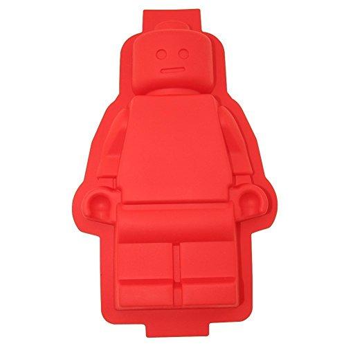 Cherion Silikon-Kuchenform mit großer Roboter-Figur, rote Farbe, niedliche Silikon-Kuchenform für Kinder und Erwachsene, als Geschenk