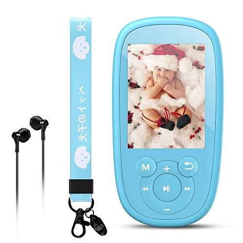 Reproductor Mp3 Bluetooth para Niños, AGPTEK K2 MP3 Niños con HD Pantalla de 2.4 Pulgada, Altavoz Interna, Ruido Blanco y Radio FM, Azul
