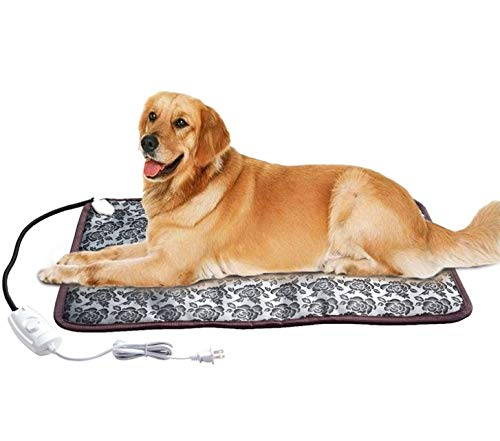 XXL Heating Pad for Large Dog Bed Outdoor or Home,Electric Heating Mat for Dog House Crate Pad for Small Medium Pet Cat Puppy Waterproof Easy Clean Long Chew Proof Cord Gray,34'x21',30-60W