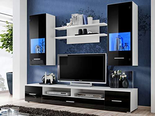 KRYSPOL Wohnwand Reno Anbauwand, Wohnzimmer-Set, Modern Design (Weiß Matt/Schwarz Glanz)