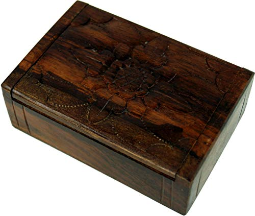 Guru-Shop Gesneden Houten Doos, Schatkist, Juwelenkistje in 2 Maten - Bloem, Bruin, Maat: Groot (3x11x7 Cm), Blikken, Dozen Kisten