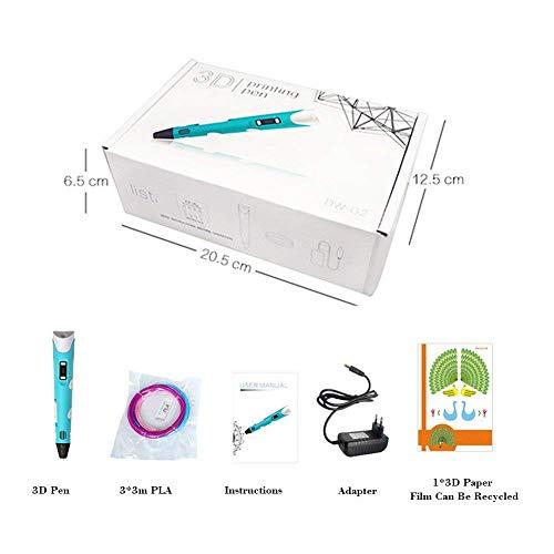 3D Stift Set , 3D Drucker Stift 1,75MM PLA Filament und Papier Schablonen für 3D Basteln, 3D Pen mit LCD Bildschirm, Geben Sie Kindern die perfekten Geburtstags - 7
