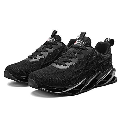 Zapatillas de Correr monocromáticas para Hombres y Mujeres Zapatillas de Deporte de Moda Transpirables y cómodas con amortiguación Negro 40