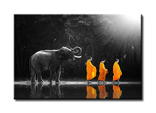 DJSYLIFE-Walking in Front of the Elephant Thai Monk Buddha Zen Photo HD Print on Canvas Wall Art, Modern Zen Office Yoga Massage Meditation Room Ideal for Decorations, Wooden Frame Ready to Hang