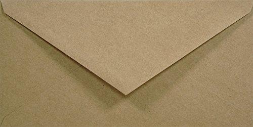 100 Sand-Braun DIN lang Kraftpapier-Umschläge, 110x220mm, Spitzklappe, ohne Fenster, ÖKO ECO Vintage natur-braune recycelte Briefumschläge ideal für Postkarten, Einladungs-Karten, Geschäftsbriefe