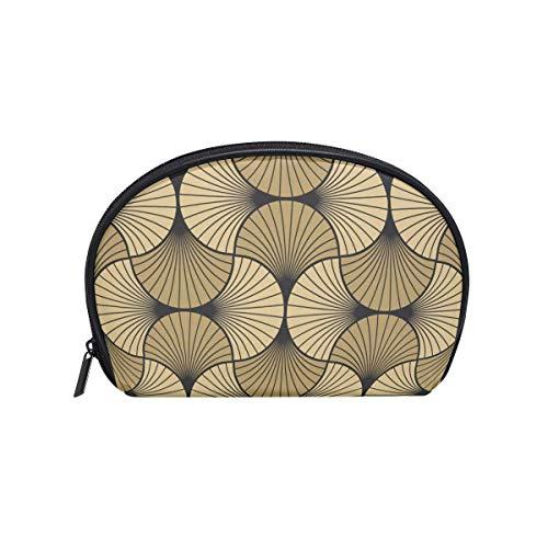 Art Deco Shell Gold Black Cosmetic Makeup Organizador de Bolsas para Mujeres Kit de Viaje con Cremallera Bolsas de Almacenamiento multifuncionales para artículos de tocador