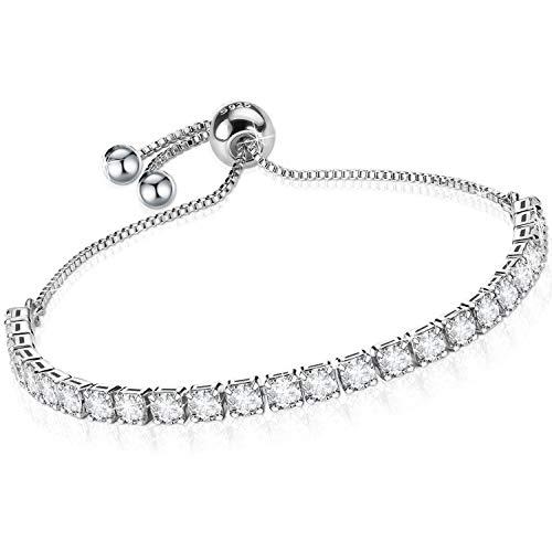 J.Fée Bracelets for Womens,Silver Bracelet for Women Tennis Bracelet,Sterling Silver Bracelet Crystal Slider Bracelet S925 Women Bracelet Zirconia Adjustable Bracelet for Women,Gift for Valentine
