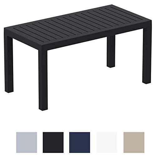 CLP Mesa Lounge Ocean Moderna I Mesa De Jardín Impermeable I Mesa De Plástico Resistente A Los Rayos UV I Mesa De Exterior Robusta I Color: Negro