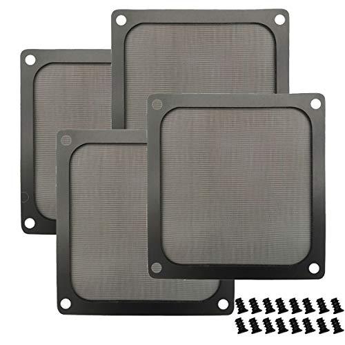 Rejilla de filtro de polvo para ventilador de computadora de 120 mm con marco magnético y tornillos, malla de nailon ultra fina, color negro, paquete de 4