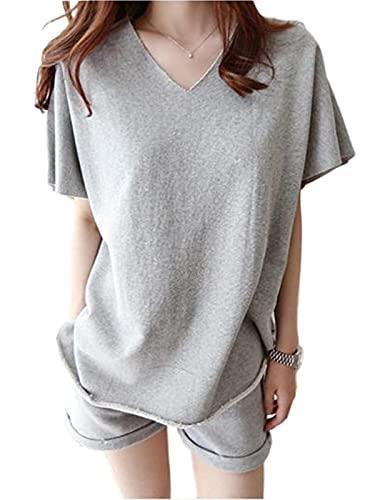 [ココスピグミー] ルームウェア 部屋着 半袖 ショートパンツ 上下セット cotton 綿 1803 (グレー, 2XL)