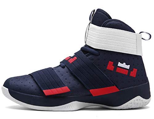 GNEDIAE Herren GNE2089 High-Top Basketball Schuhe Outdoor Anti-Rutsch Sneaker Atmungsaktiv Ausbildung Turnschuhe Sportschuhe Laufeschuhe Verschleißfeste Dämpfung Basketballstiefel Blau 41 EU