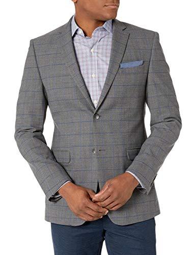 Original Penguin Men's Slim Fit Suit Separates-Custom Pant Size Selection, Grey Medium Plaid Jacket, 42 Long
