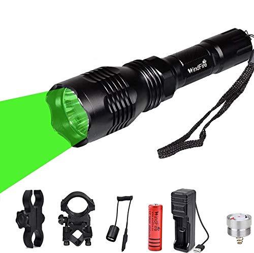 Linterna de caza WindFire con luz roja verde, Antorcha Táctica LED 350...