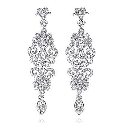 Black Vintage Style Wedding Crystal Rhinestone Cluster Chandelier Hollow Dangle Earrings