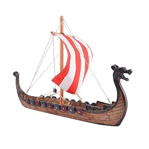 Tubayia Wikingerschiff Drachenboot Segelschiff Modell Sammlerstück Dekoration für Zuhause/Büro (25,5 x 5,5 x 17,5 cm)