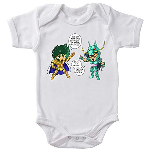 OKIWOKI baby-body wit Saint Seiya, parodisch, Shura, Golden ridder, Steenbok en Shiryu van de drak: J't'AI gebroken daar (Parodie Saint Seiya)