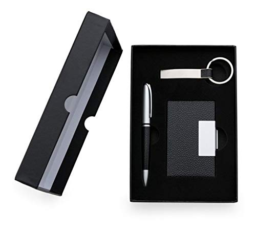Kit Executivo 3 Peças Caneta Chaveiro Porta Cartão