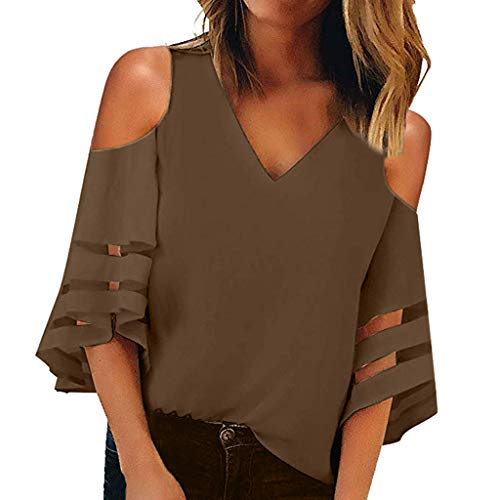 BaZhaHei Damen Sommer Chiffon Blusen Elegante 3/4 Glockenhülse Bluse Tunika Oberteile T-Shirt Frauen Mode Off Schulter Taille Tie Kurzarm Casual Lose Slash Neck T Shirts Tops (M, Kaffee)