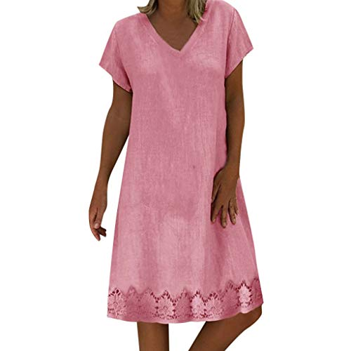 Sttech1 Ladies Summer Cotton and Linen Dress Feminino Vestido T-Shirt Casual Embroidery Short Sleeve Dress Plus Size Pink
